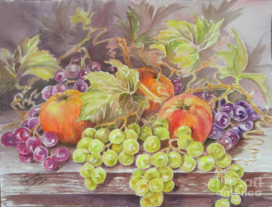 Fruit Painting - Apples And Grapes by Summer Celeste