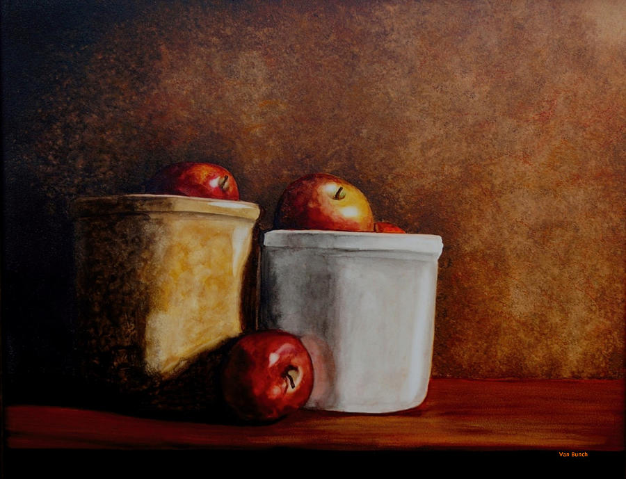 Apples Painting - Apples And Jars by Van Bunch