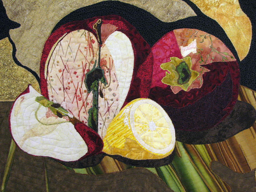 Mixed Media Tapestry - Textile - Apples And Lemon by Lynda K Boardman