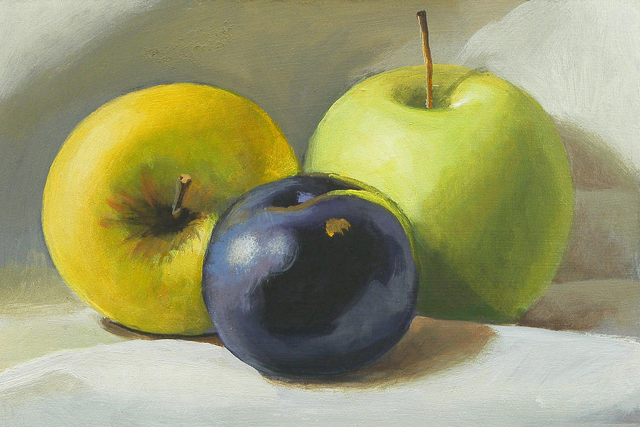 Apple Painting - Apples And Plum by Peter Orrock