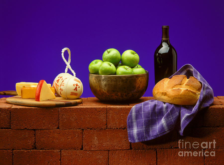 Wine Photograph - Apples Bread And Cheese by Craig Lovell