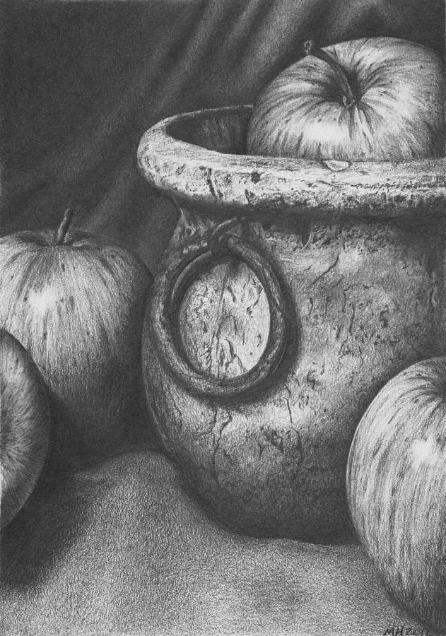 Graphite Pencil Drawing - Apples In Stoneware by Michelle Harrington