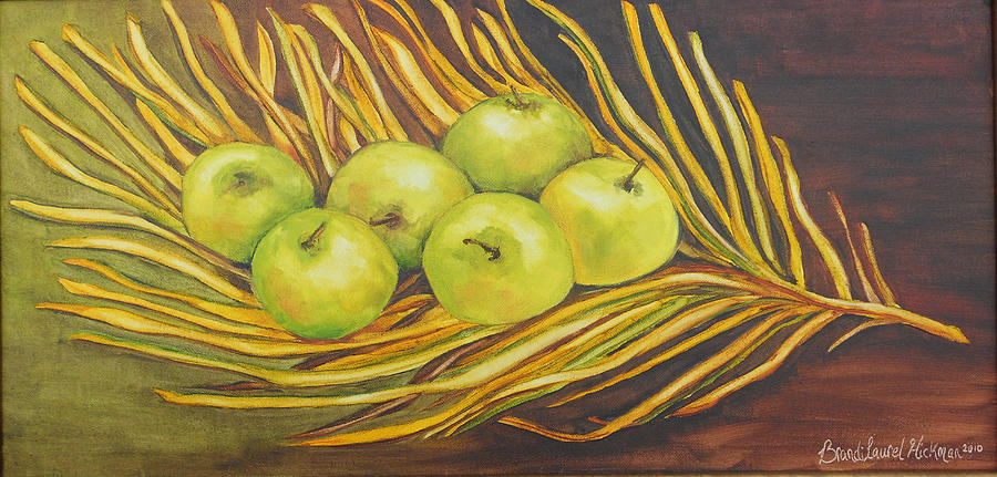Apples Painting - Apples On Dried Grass by Brandi  Hickman