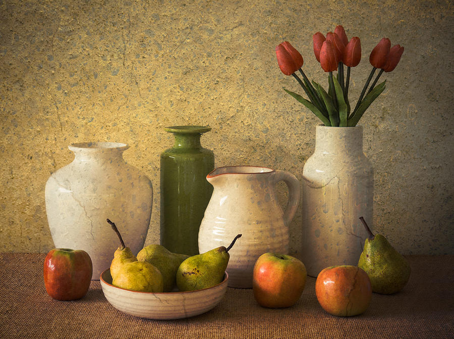 Still Life Photograph - Apples Pears And Tulips by Jacqueline Hammer
