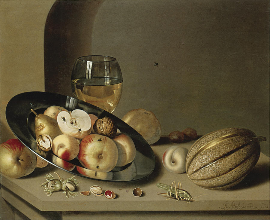 Ambrosius Bosschaert The Younger Painting - Apples Pears Peaches And Walnuts by Ambrosius Bosschaert the Younger
