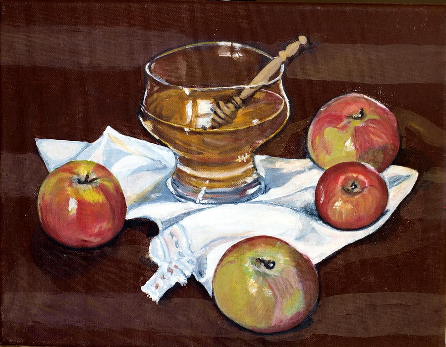 Apples Painting - Apples With Honey by Vera Lysenko