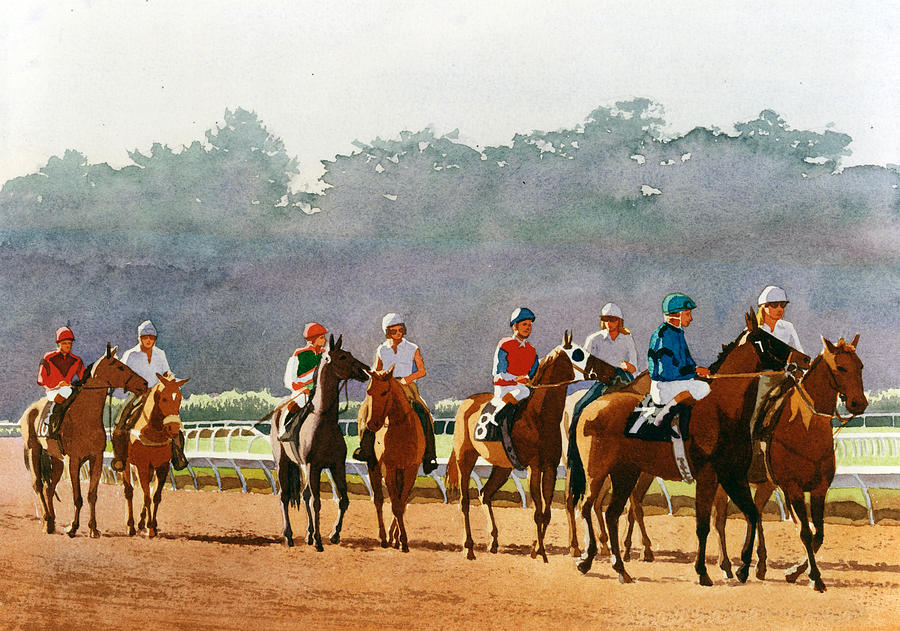 Horse Racing Painting - Approaching the Starting Gate by Mary Helmreich