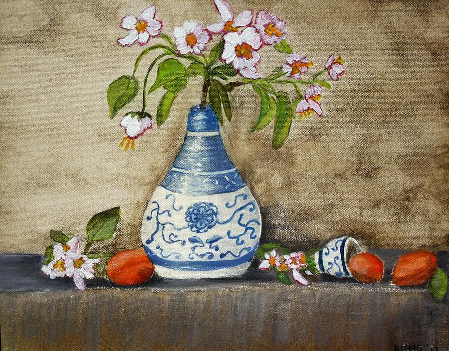 Still Life Painting - Apricot Still Life Ll by Kristie Zweig Christensen