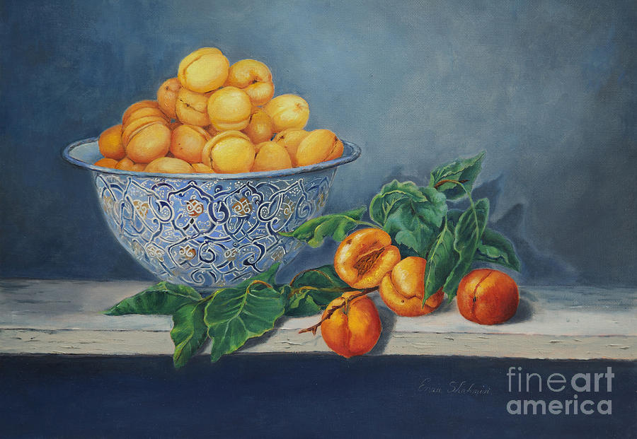 Fruit Painting - Apricots And Peaches by Enzie Shahmiri