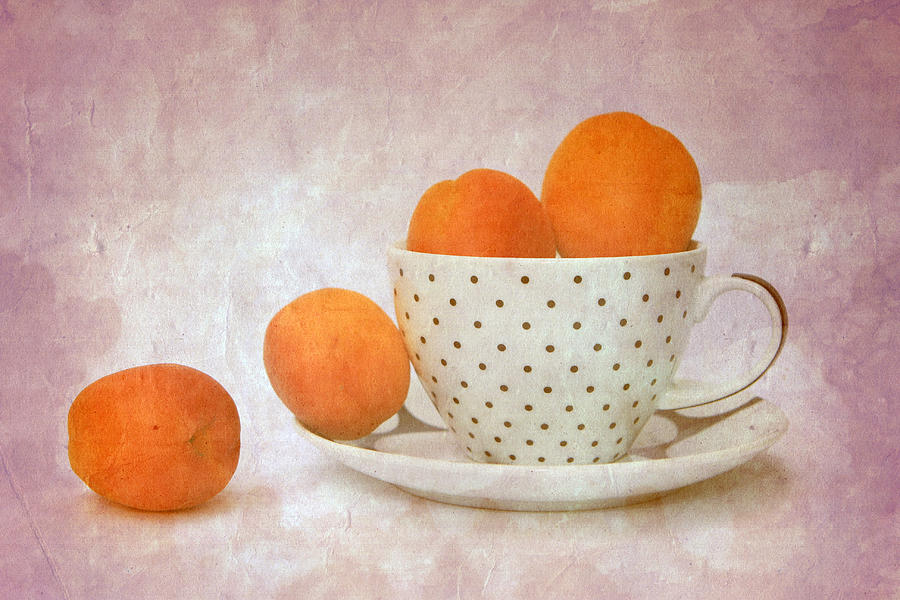 Still Life Photograph - Apricots In A Cup by Angela Bruno
