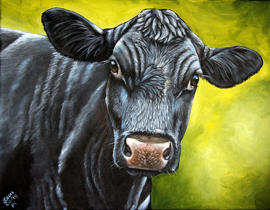 Cow Painting - April by Laura Carey