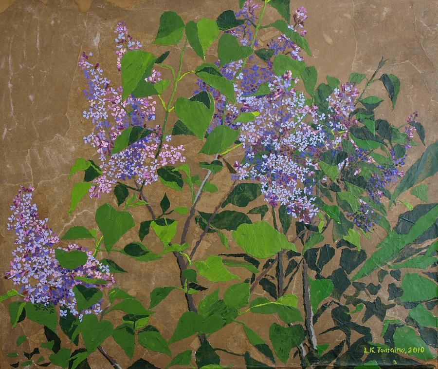 Lilacs Painting - April Lilacs by Leah  Tomaino