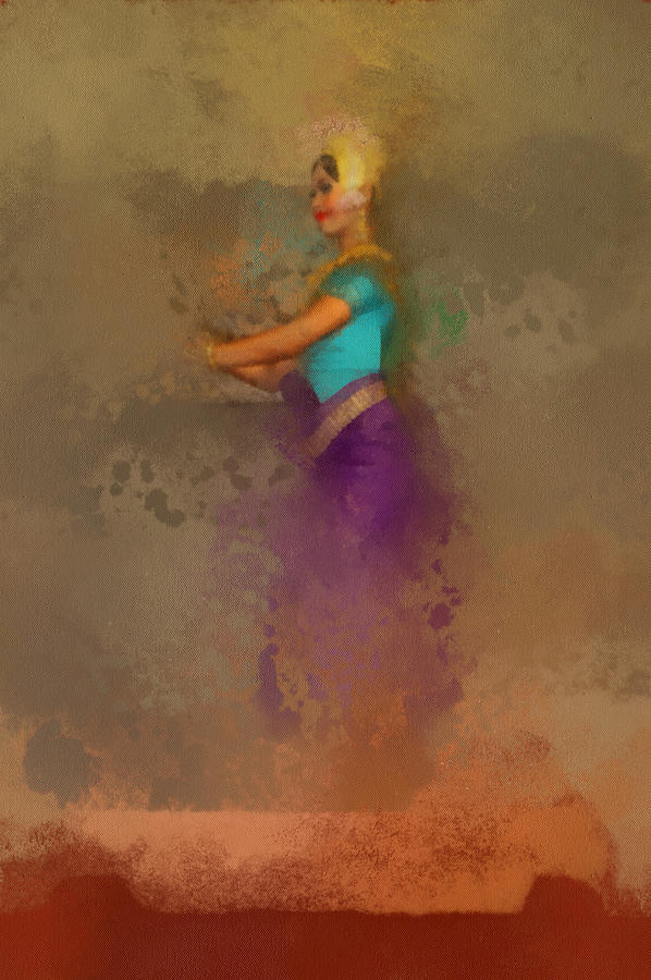 Apsara Dancing Cambodia Lovely Lady Painting by Teara Na