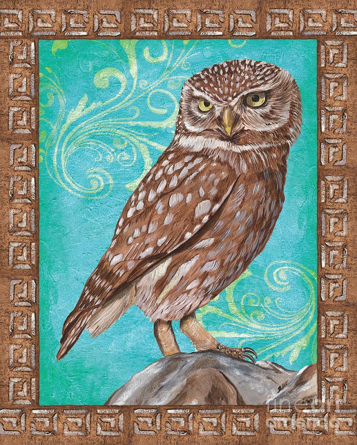 Owl Painting - Aqua Barn Owl by Debbie DeWitt