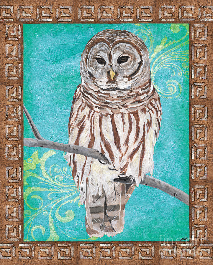 Owl Painting - Aqua Barred Owl by Debbie DeWitt