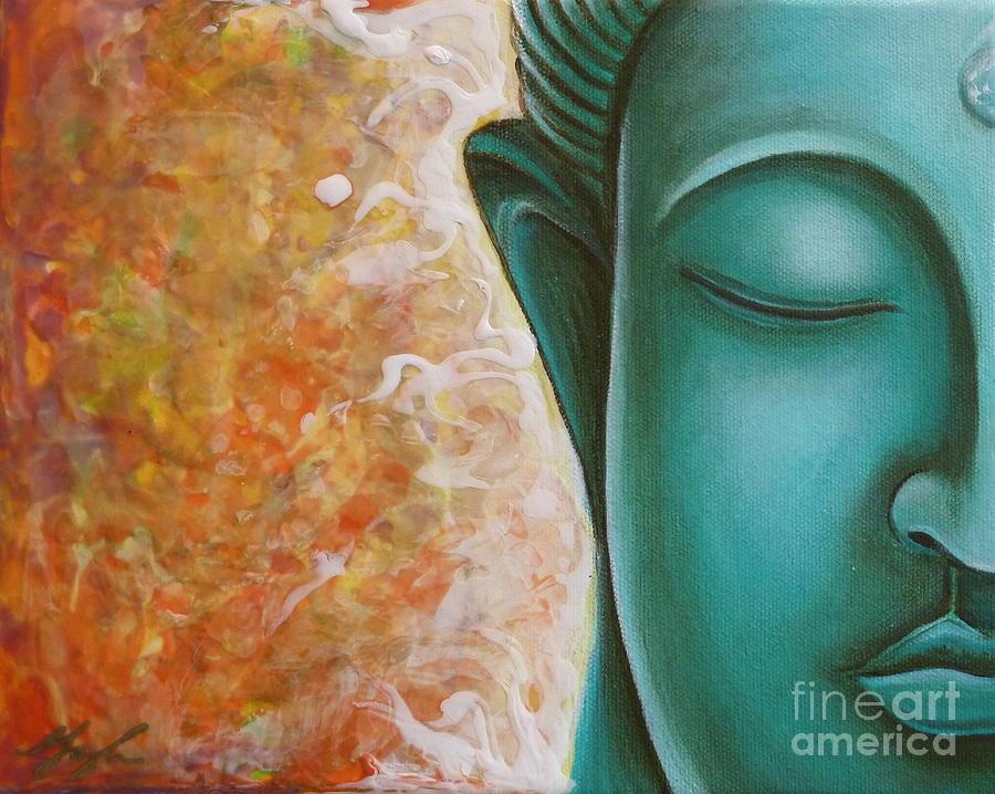 Buddha Painting - Aqua Buddha by Gayle Utter