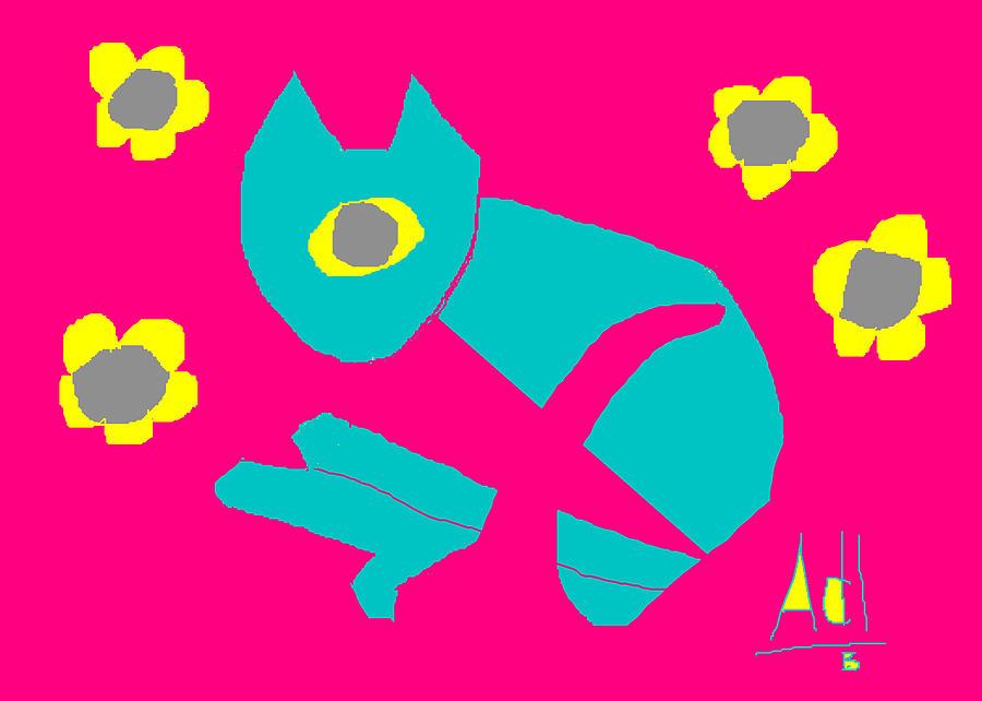 Cat Painting - Aqua Cat by Anita Dale Livaditis
