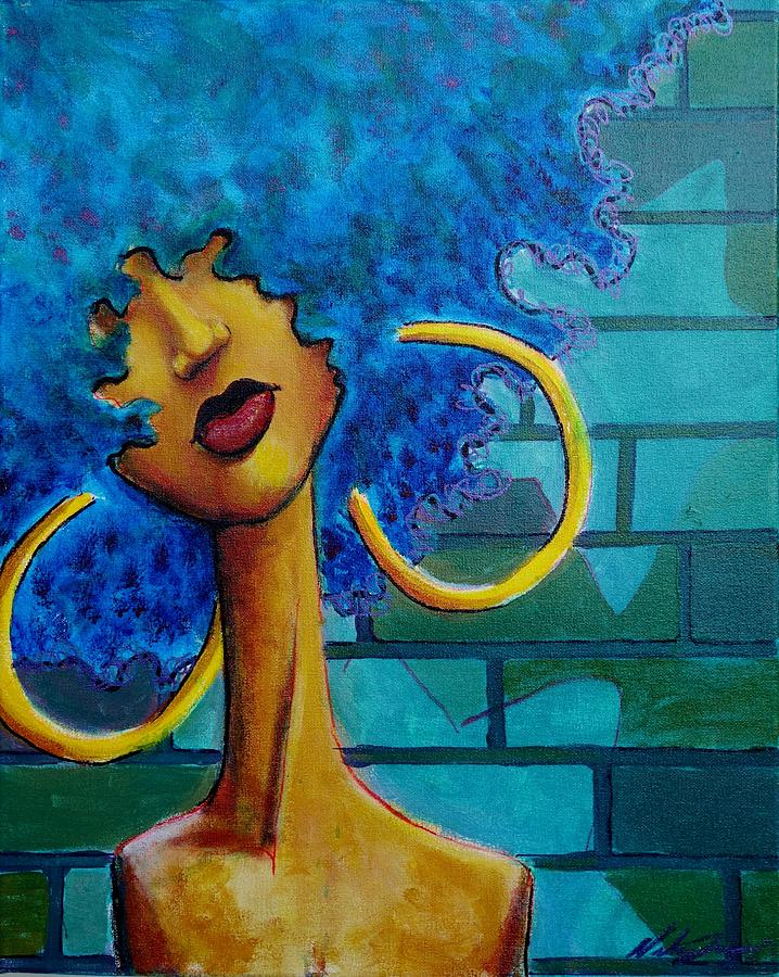 Blue Painting - Aqua Fro by Nelson Perez