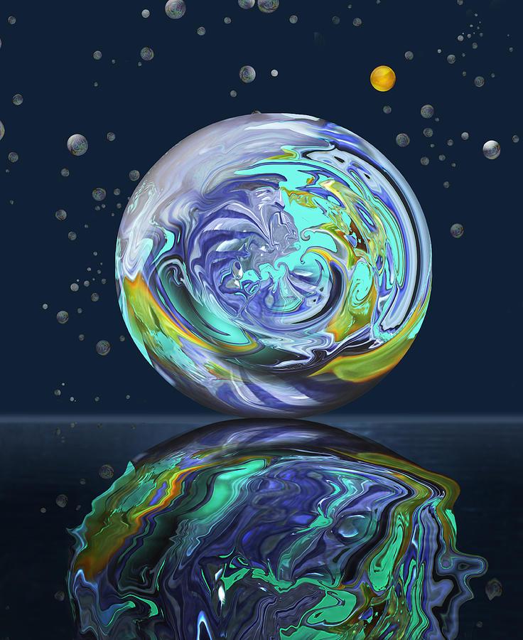 Abstract Digital Art - Aqua Orb by Deborah Smith