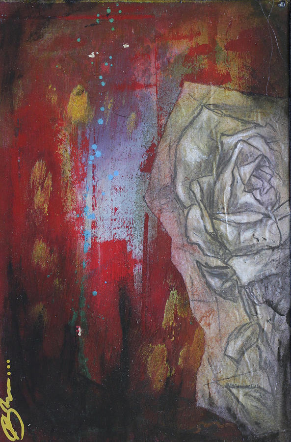 Floral Mixed Media - Aqua Red Rose No.3 by Bhreon Bynum