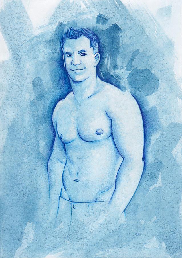 Male Mixed Media - Aqua by Rudy Nagel