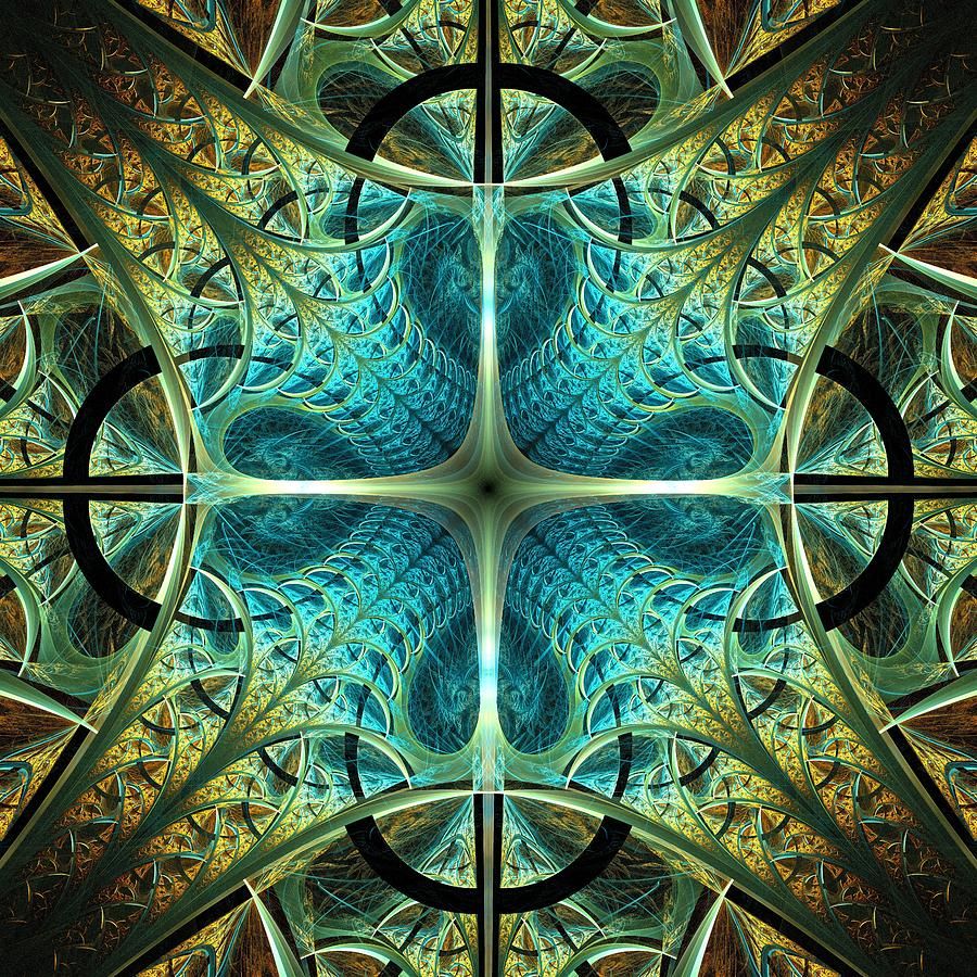 Interior Digital Art - Aqua Shield by Anastasiya Malakhova