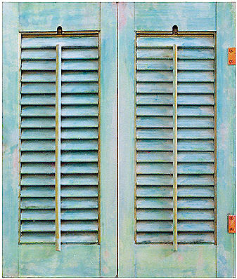 Turquoise Painting - Aqua Shutters by Asha Carolyn Young
