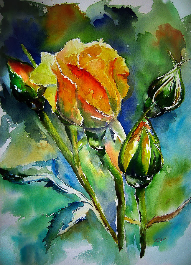 Flower Painting - Aquarelle by Elise Palmigiani