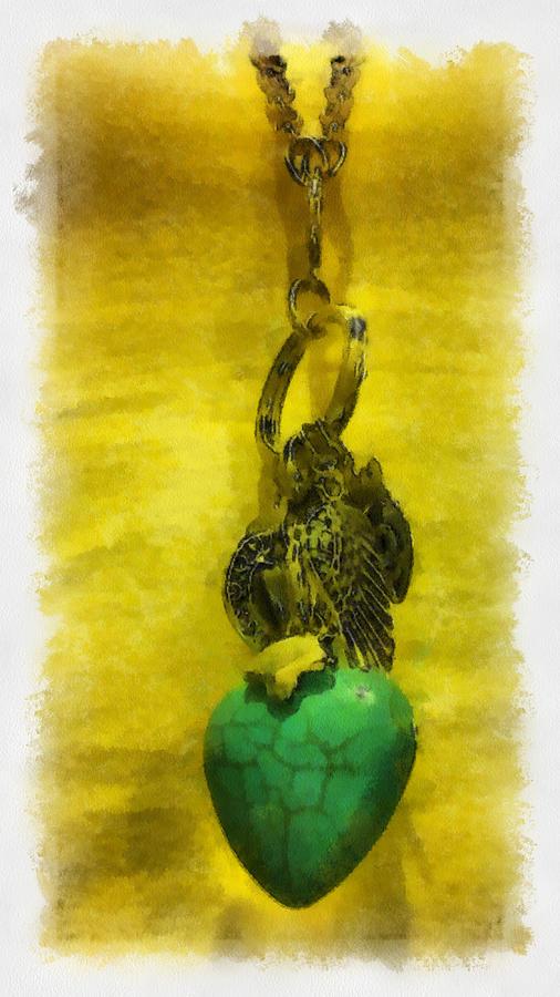 Aquarelle Digital Art - Aquarelle Watercolor Turquoise Heart by Lorri Crossno