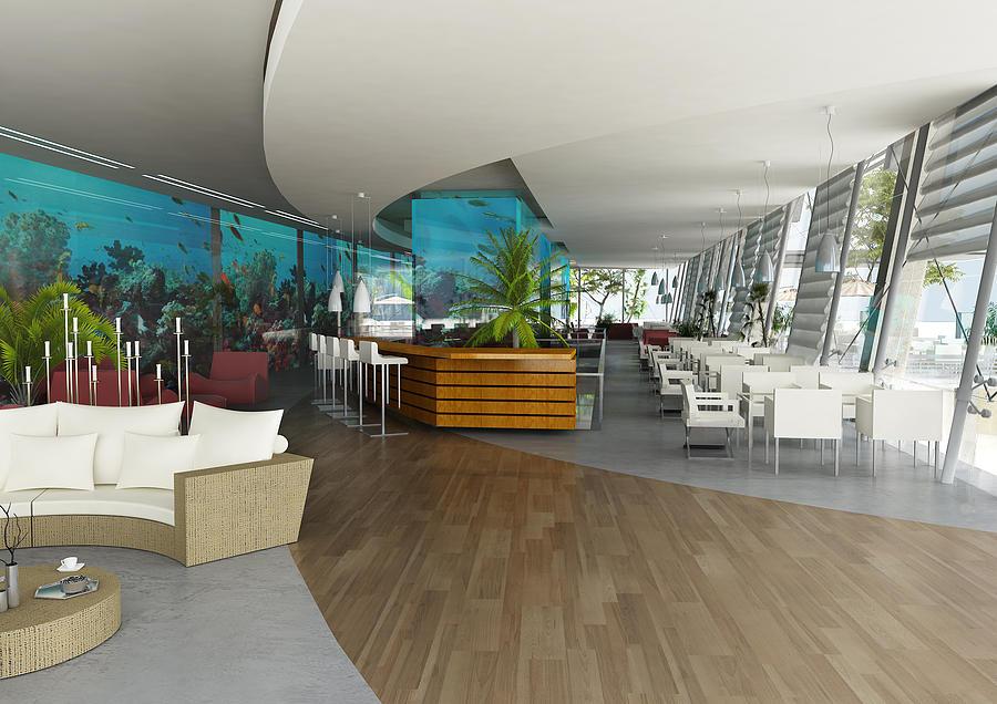 aquarium restaurant interior digital art by dotdesign memusleh. Black Bedroom Furniture Sets. Home Design Ideas