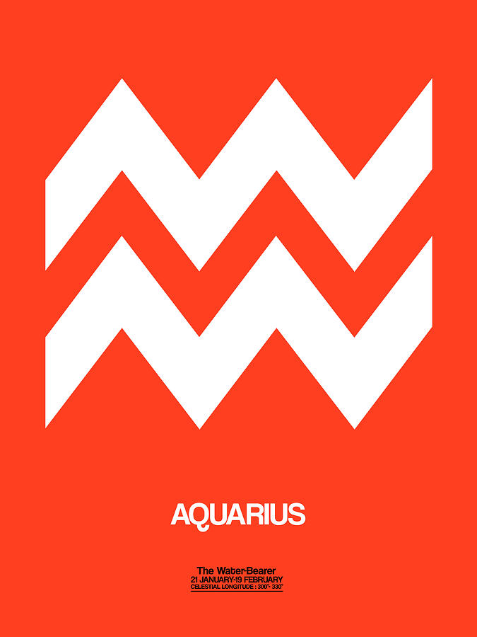 Aquarius Digital Art - Aquarius Zodiac Sign White On Orange by Naxart Studio