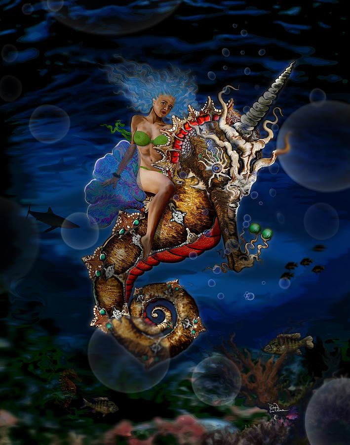 Seahorse Digital Art - Aquatic Goddess on Unicorn Seahorse by Doug LaRue