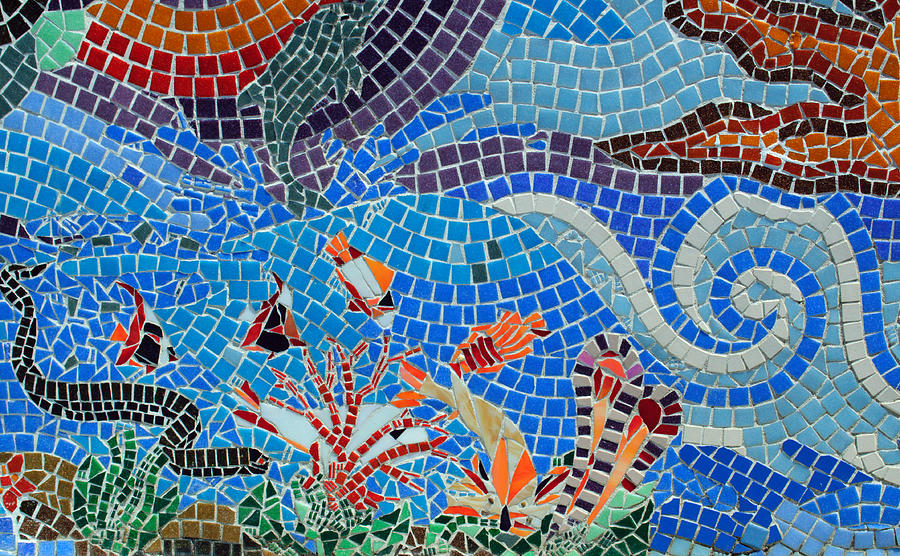 Aquatic Photograph - Aquatic Mosaic Tile Art by Tikvahs Hope