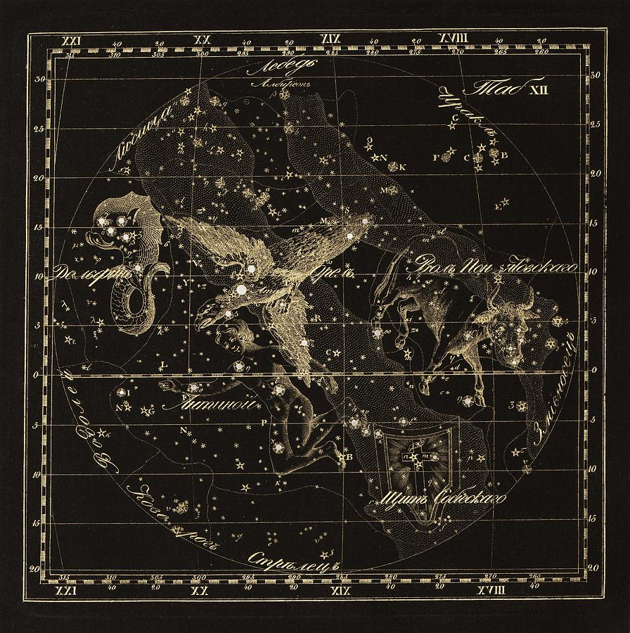 Delphinus Photograph - Aqulia Constellations, 1829 by Science Photo Library