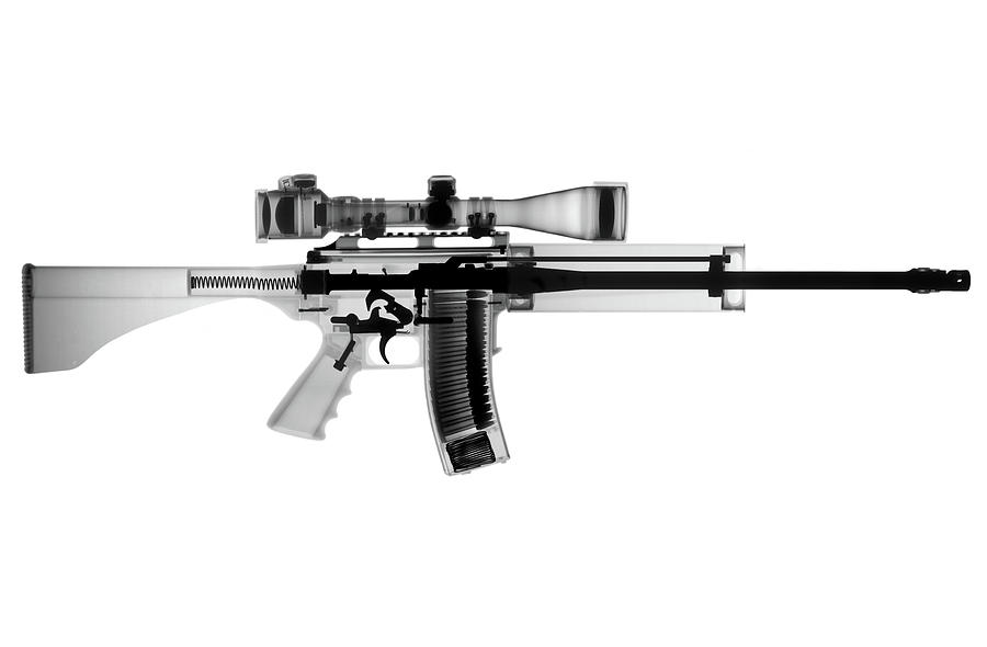Antique Firearms Photograph - AR 15 Pro Ordnance Carbon 15 X-Ray Photograph by Ray Gunz