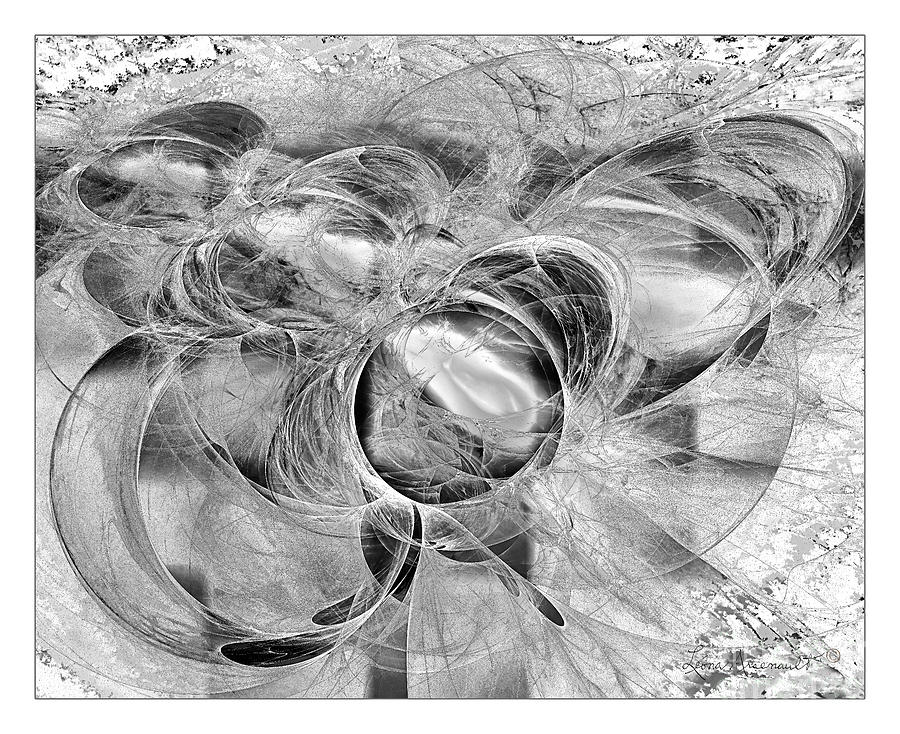 Abstract Digital Art - Arabesque Design In Black And White by Leona Arsenault