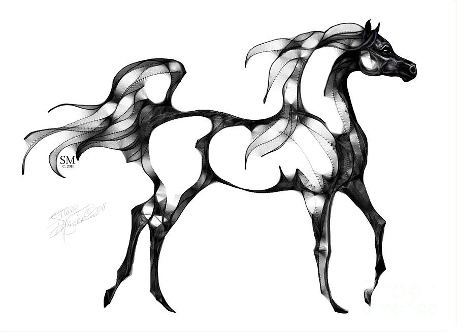 Line Drawing Horse Tattoo : Arabian horse overlook digital art by stacey mayer