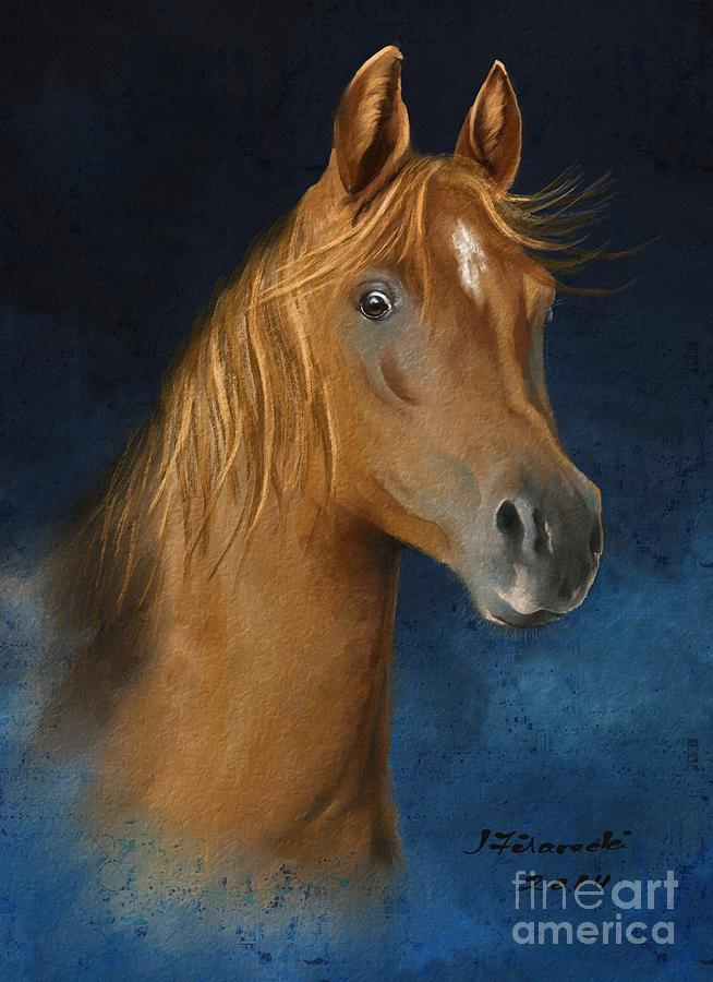 Horse Painting - Arabian Horse Portrait by Judy Filarecki