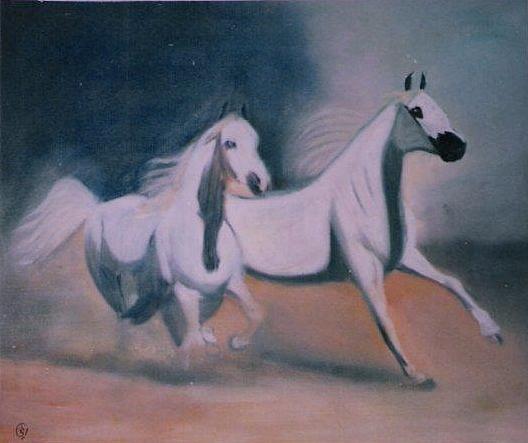 Horses Painting - Arabic Horses by Rami Besancon