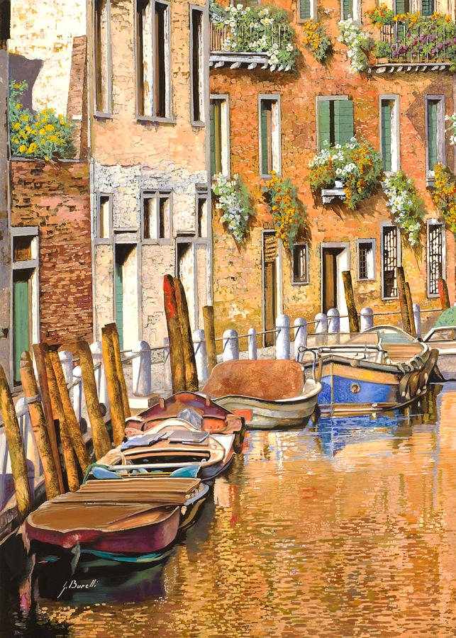 Venice Painting - Arancio Sul Canale by Guido Borelli