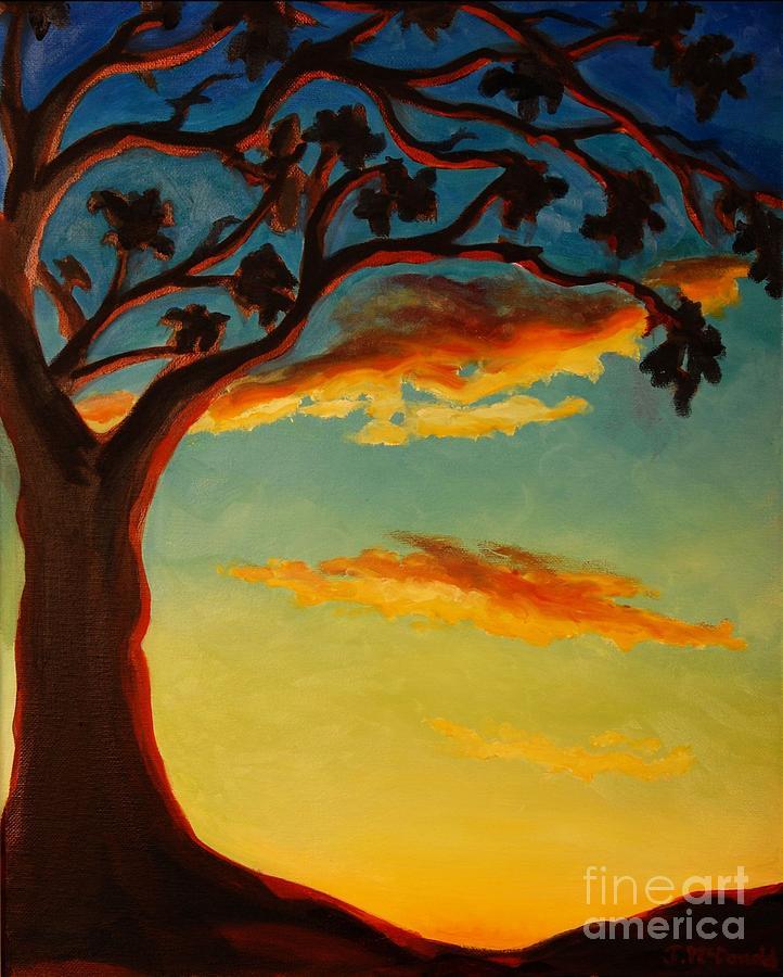 Nature Painting - Arbutus Sunrise by Janet McDonald