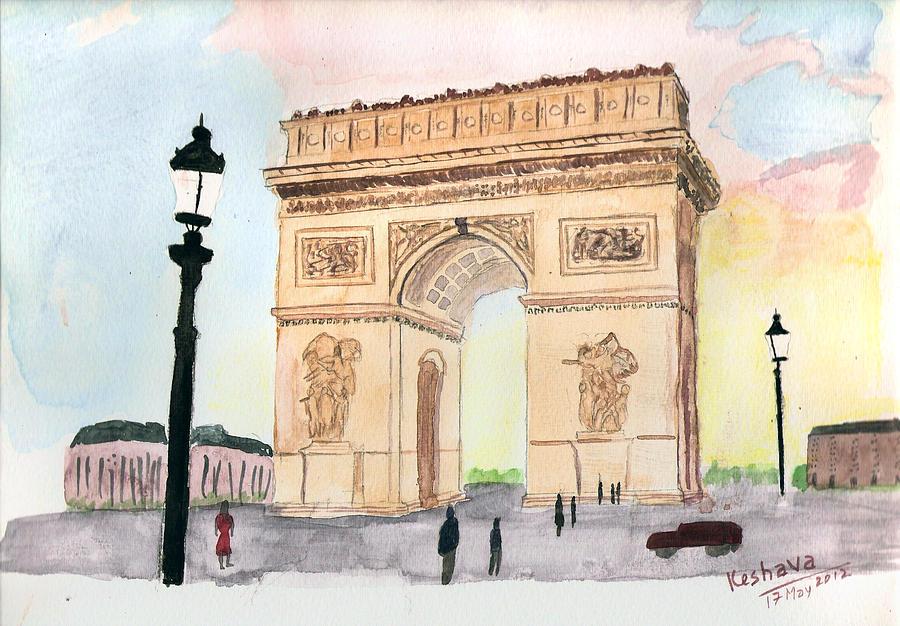 Arc De Triomphe Painting - Arc De Triomphe by Keshava Shukla