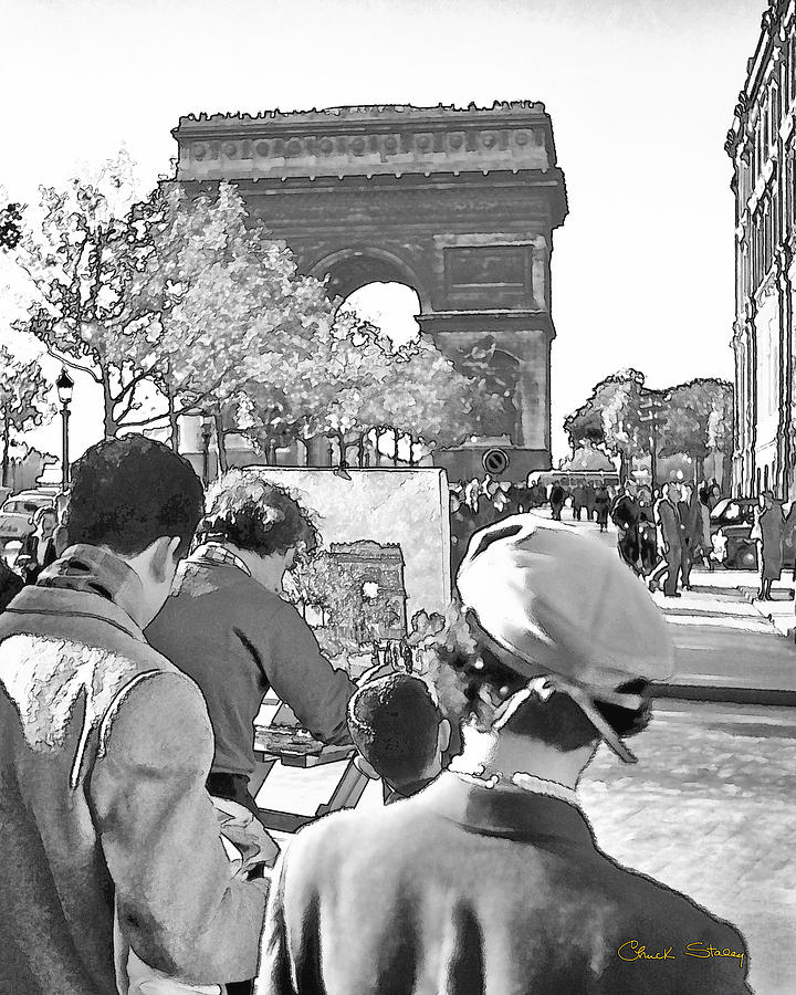 Paris Photograph - Arc De Triomphe Painter - B W by Chuck Staley