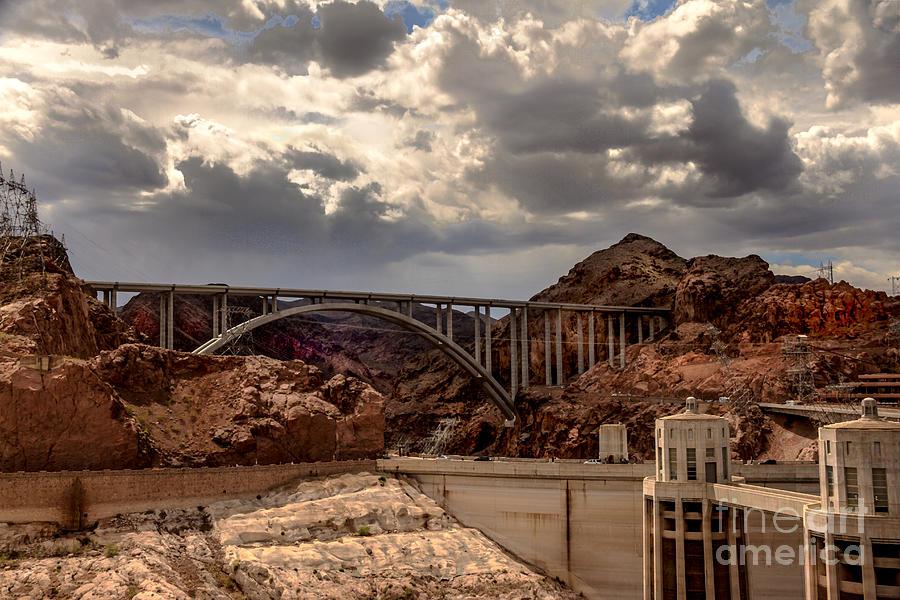 Pat Tillman Memorial Bridge Photograph - Arch Bridge And Hoover Dam by Robert Bales