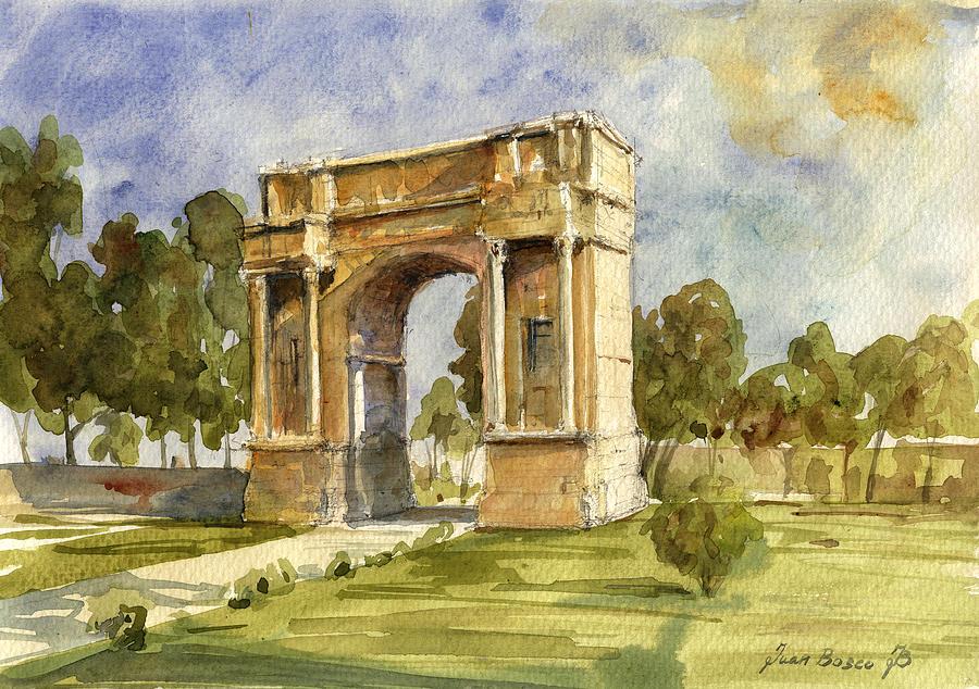 Roman Painting - Arch Triumphal Of Antonius Pius At Tunisia by Juan  Bosco