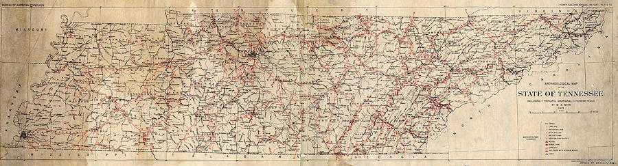 Archaeological Map Of The State Of Tennessee Drawing By Cody Cookston - Map of the state of tennessee