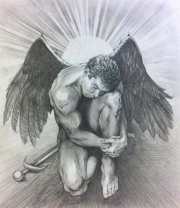 Angel Drawing - Archangel Michael by Karina Griffiths
