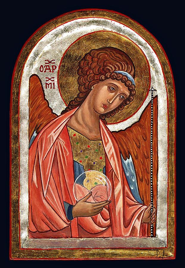 Icona Painting - Archangel Michael by Raffaella Lunelli