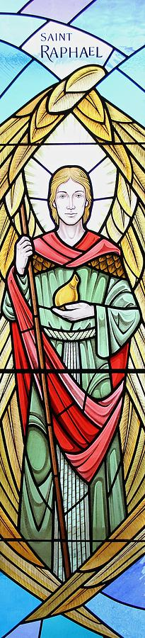 Stained Glass Glass Art - Archangel Raphael by Gilroy Stained Glass