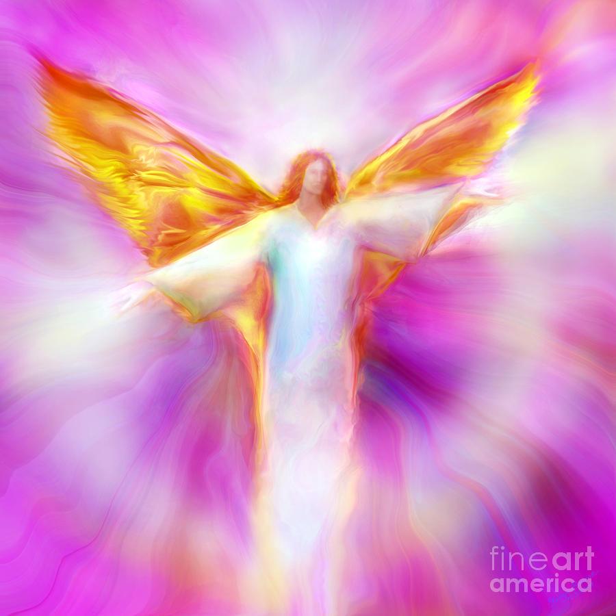 Angel Painting - Archangel Sandalphon In Flight by Glenyss Bourne